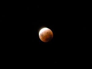 An almost totally eclipsed Moon