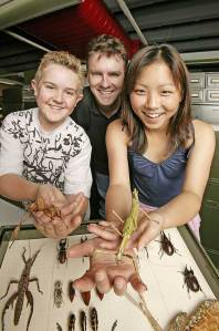 Darren with Helix kids and stick insects